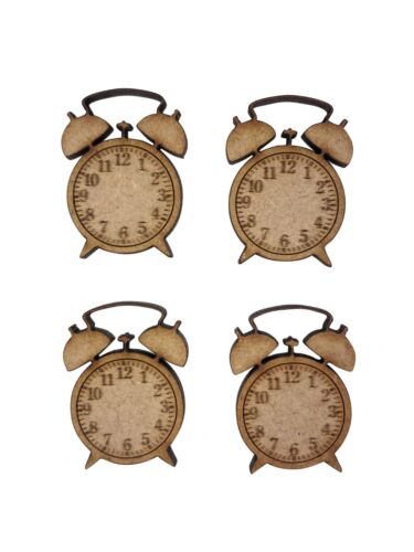 16x Alarm Clock 3cm Wood Craft Embelishments Laser Cut Shape MDF