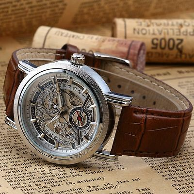 Mens White Dial Skeleton Auto Automatic Mechanical Date Leather Wrist Watch