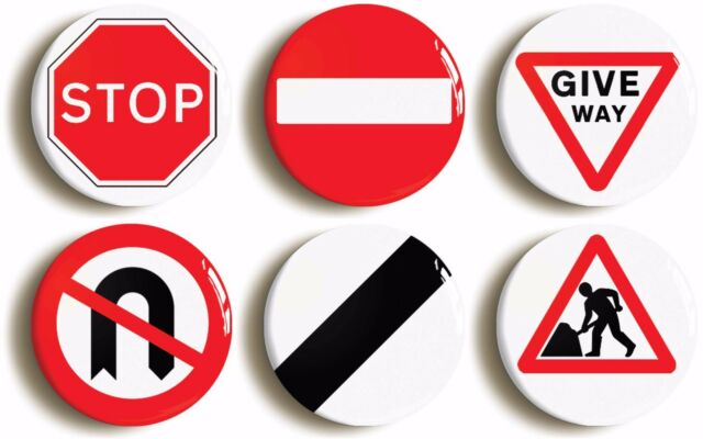UK ROAD SIGNS FUNNY BADGE BUTTON PIN SET (Size is 1inch/25mm diameter)