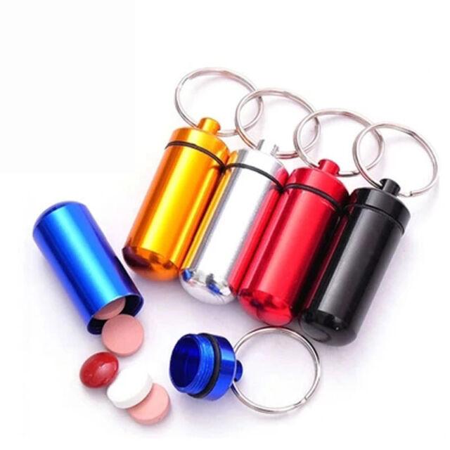 Emergency Pill Box Case Bottle Holder Container Keychain Keyring M