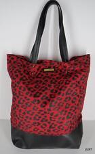 REBECCA MINKOFF Red Black Leopard Print Nylon Leather Trim Tote Purse Bag EUC