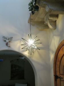 """Moravian 14.5/"""" antique mirror and clear glass combination star"""