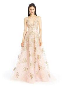 Details About 11 290 New Oscar De La A Blush Pink Gold Bow Embelllished Organza Gown 8