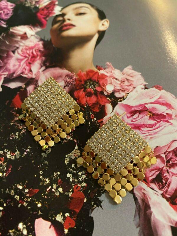 Latoir Blogger Square Gold Glomesh Gem Rhinestone Minimalist Statement Earrings