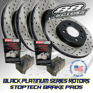 88-Rotors-Black-Platinum-Drilled-amp-Slotted-Brake-Rotors-Stoptech-Pads-SS-V8