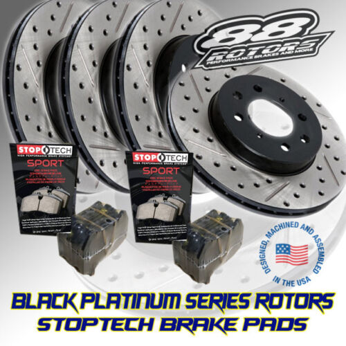Black Platinum Drilled /& Slotted Brake Rotors Stoptech Pads RSX DC5 88 Rotors