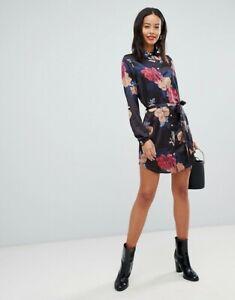 Asos-Parisian-New-Womens-Tie-Waist-Floral-Print-Black-Shirt-Dress-Size-8-10