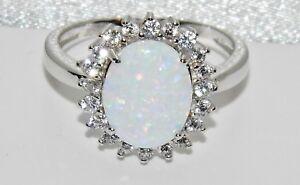 Plata Esterlina 925 y Blanco Opal Oval Cluster Anillo de Damas Circón-Talla M