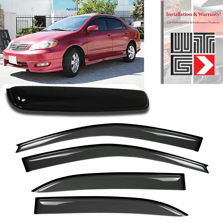 LONGKEES Sun//Rain Guard Wind Deflector Vent Shade Window Visor Fit 2003-2008 Toyota Corolla All Models