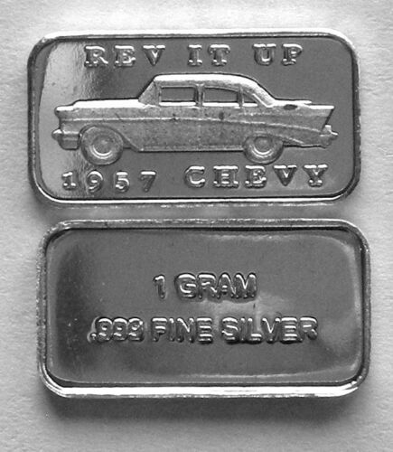 PURE SILVER 1957 CHEVY /'REV IT UP/' BAR 10 2 1 GRAM 0.999