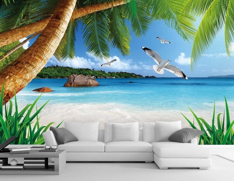 3D Vogel Baum Stein Strand 724 Tapete Wandgemälde Tapete Tapeten Bild Familie DE