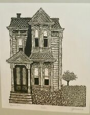 """November"" Victorian Mansion Woodcut- 6 of 100- 1960s/70s-William Gorman"