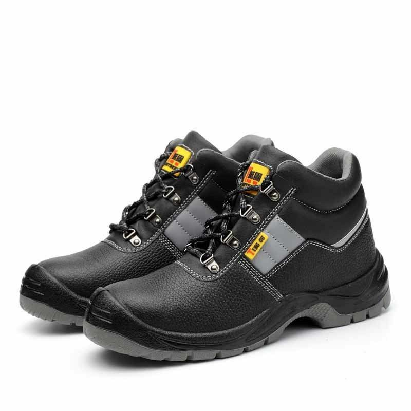 Men's Lace Up Steel Toe High-top Leather Safe Outdoor Hiking Work shoes Boots
