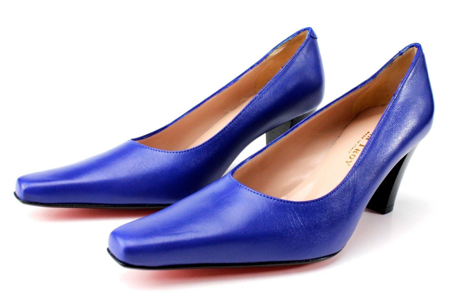 Ivan Troy Bibi azul, zapatos de oficina, tacones de 3 pulgadas, fabricado en Italia