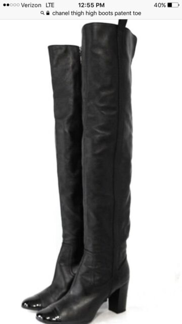 1c3d8d0cd99 CHANEL Black leather thigh high Shoes boots with patent leather trim size 8( 38)