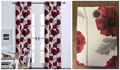 Floral Poppy Eyelet Curtains Red Poppys on a Ivory Hue Background 66x54 to 90x90