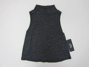 BB-Dakota-Women-039-s-Sleeveless-Mock-Neck-Metallic-Knit-Shirt-Small-Black-Metallic