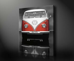 Cars401 Volkswagen Camper Red Front Canvas Art Ready to Hang Picture Print