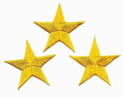 """STARS - Golden Yellow 1 1/4"""" Stars(3 Pc)-Iron On Embroidered Patch Astrology"""