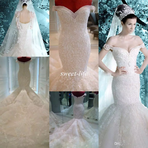 Image Is Loading Luxury Mermaid Crystal Beaded Rhinestone Wedding Dress Off