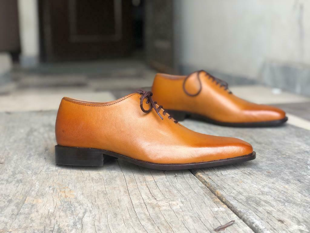 Men's Handmade Whole Cut Leather shoes Fashion shoes new shoes Tan Leather shoes