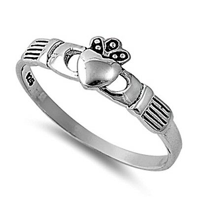 .925 Sterling Silver Ring size 2 Heart Kids Midi Claddagh Celtic Ladies New p73