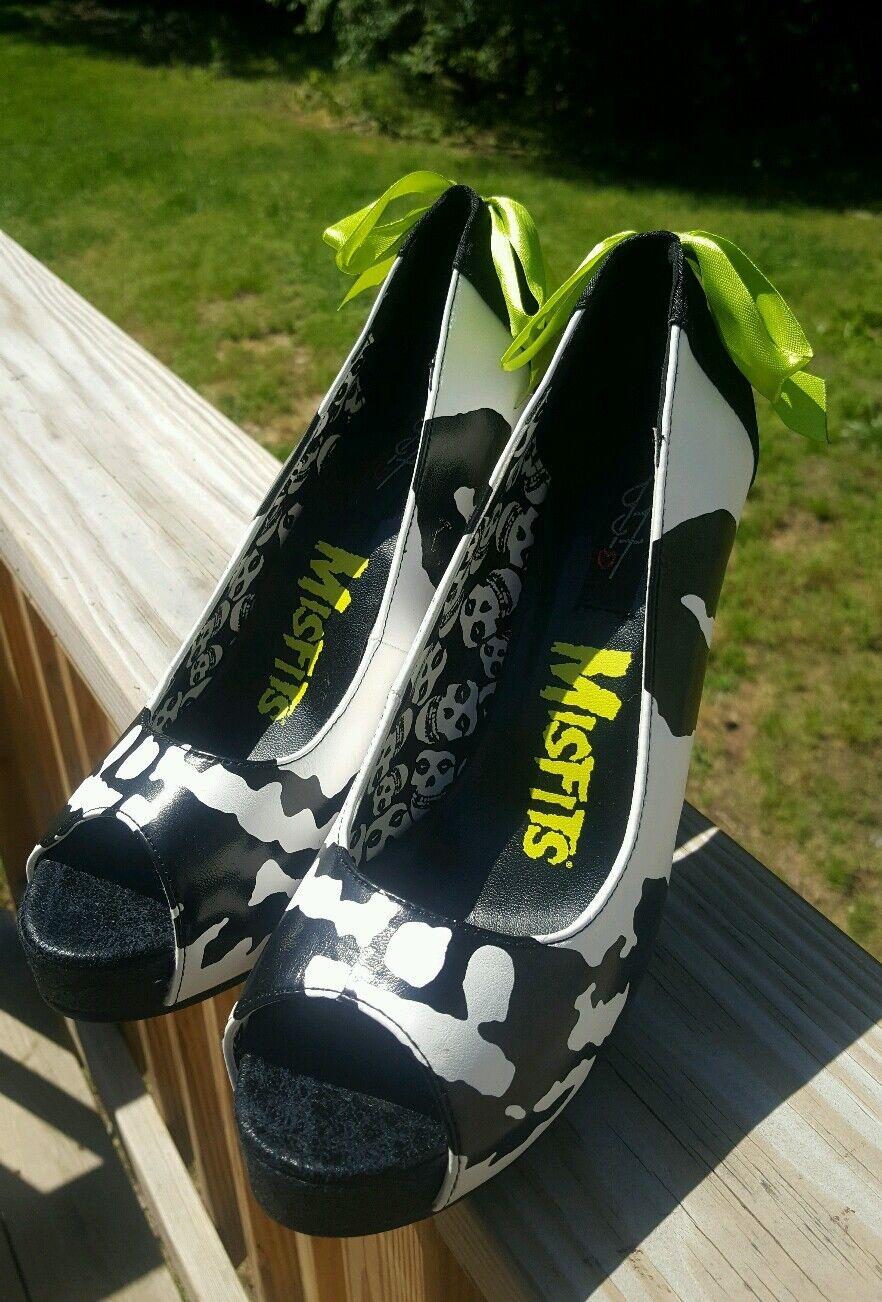 Misfits Fiend  Club High Heels nero &bianca Skulls Ribbon donna scarpe Sz 9 PUNK  acquista online