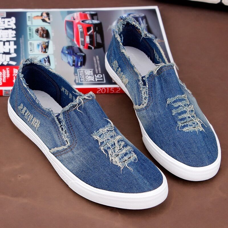 Men's Stylish Casual Canvas Breathable Denim Holes Slip On Sneakers shoes Comfy
