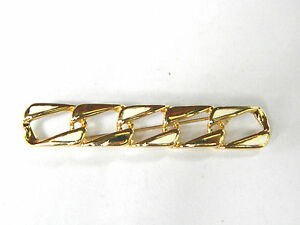 Monet-White-Enamel-and-Gold-tone-Metal-Vintage-Link-Pin-Brooch