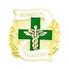 Surgical Technologist Pin Green Cross Wreath Medical Emblem Surgery Tech 976 New