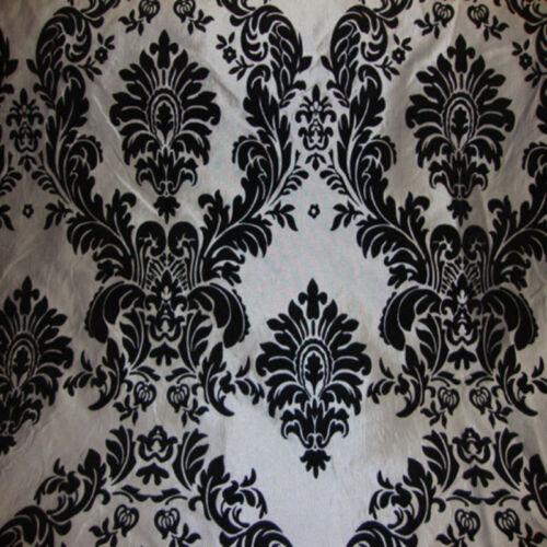 """100 Yards 58/"""" Wide Flocking Flocked Damask Taffeta Fabric Black White Wholesale"""