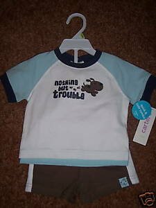 NWT-CARTER-039-S-2-Piece-Short-Set-Nothing-but-Trouble-3M-NEW-Baby-Boy-Infant