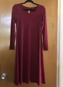 Eileen-Fisher-Dress-XS-Viscose-Jersey-Merlot-Red-Keyhole-Scoop-Neck-Midi-198