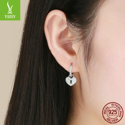 Authentic 925 Sterling Silver Asymmetry Love Lock CZ Hoop Earrings Jewelry Girls