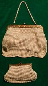 2-Vintage-Whiting-Davis-Ivory-Mesh-Gold-Trim-Small-Evening-Bags-BEST-OFFER