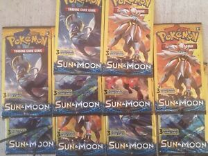 Pokemon TCG: Sun and Moon Booster Packs - (3 Cards Per Pack) Sealed  *Lot of 10*
