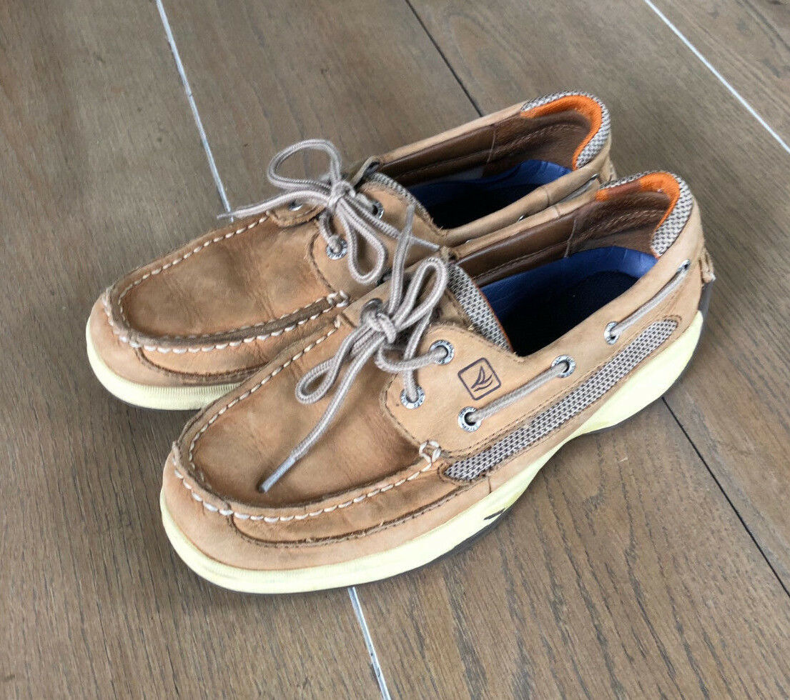 Sperry Top Sider Men's 7M Beige Leather Boat shoes Slip On Loafers