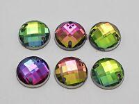 100 Rainbow AB Flatback Acrylic Faceted Round Sewing Rhinestone Button Bead 12mm
