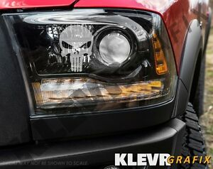 PAIR PUNISHER SKULL HEAD LIGHT Taillight sticker ETCHED DECALS A//I//L//S//V 2019