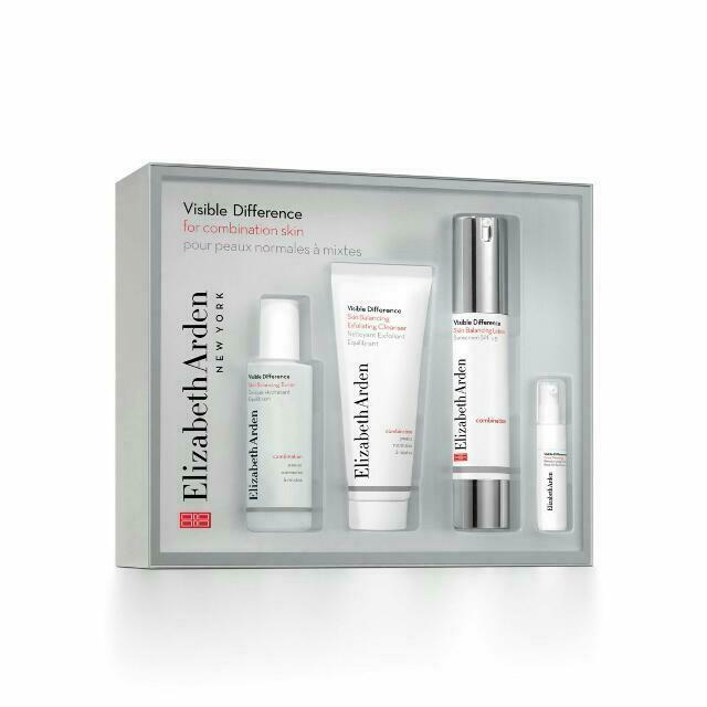 Elizabeth Arden Visible Difference 4pc Set Lotion Cleanser Toner Serum Oily Skin