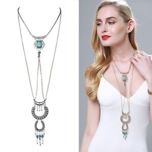 collar-bohemio-Boho-Gypsy-Style-Turquoise-Tassel-Long-Chain-Choker-Necklace