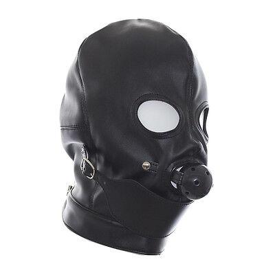 Soft PU Leather Gimp Hood Eyes Open Mask With Mouth Ball Gag bondage Fetish