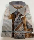 Men's DANIEL ELLISSA French Cuff Dress Shirt BROWN Tie Hanky Cufflinks Set