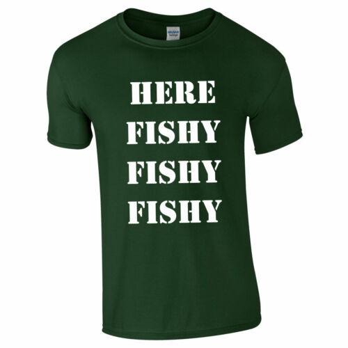 HERE FISHY FISHY TSHIRT Tee Top Mens Kids Fishing Angler Carp Present Gift Funny