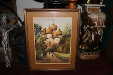 Stunning M. Rohowsky Water Color Painting-Russian Churches People Walking-LQQK