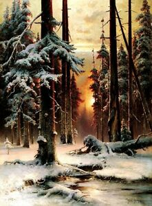 Winter-Sunset-in-Fir-Forest-Picture-Reproduction-Art-Print-A4-A3-A2-A1