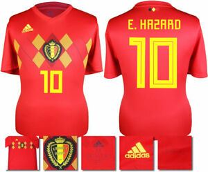 e37730f0a58 E. HAZARD 10 - BELGIUM HOME 2018 WORLD CUP ADIDAS SHIRT SS = KIDS | eBay