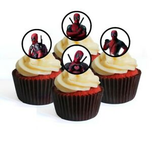 24 Deadpool Edible Cupcake Toppers -Stand Up Wafer Disc ...