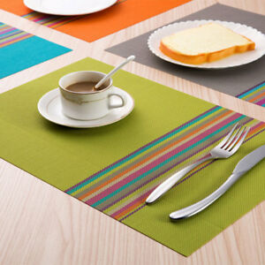 Details About 2pcs Dinner Table Placemats Heat Resistant Pvc Place Mats Washable 30x45cm