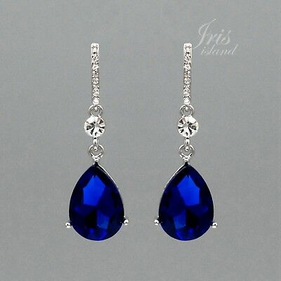 Sapphire rhinestone earrings